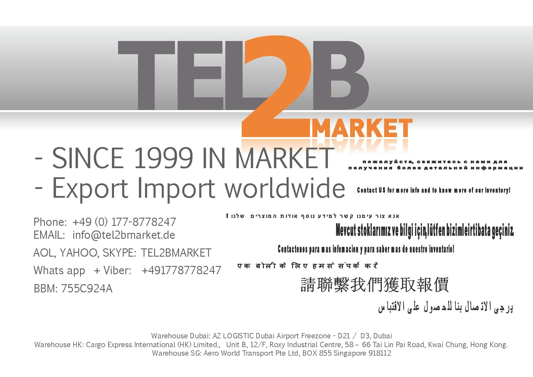 NETWORK OFFICIAL DISTRIBUTOR TEL2BMARKET - DELTAPLUS
